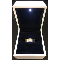 18kt Gold Plated Size 10 Mens Cross Band Ring With LED Enameled Ring Box
