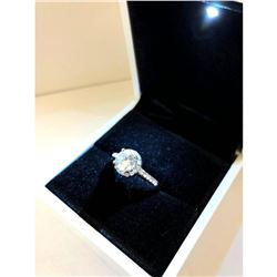 Elegant Ladies 925 Silver Marked 2 Carat Main Stone CZ Diamond Ring