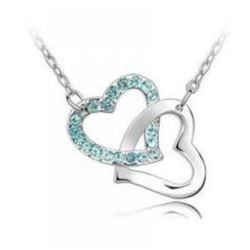 Austrian Crystal with Swarovski Elements - Interlocking hearts-Sapphire