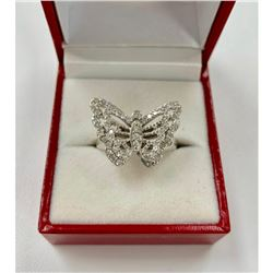 Ladies Simulated Cluster Diamond Butterfly Ring with 925 Sterling Silver Mount