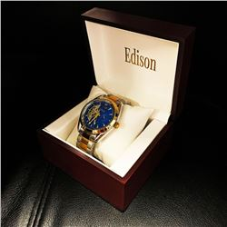 Mens L.A Banus Brilliant Blue DialGold Stainless Steel Stitched Leather Luxury Watch