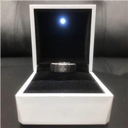 Men's Titanium Steel Black And Silver Ring
