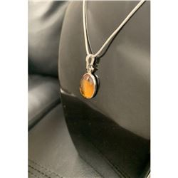 Mounted Baltic Amber 925 Silver Plated Pendant On 925 Silver Plated Snake Link Necklace