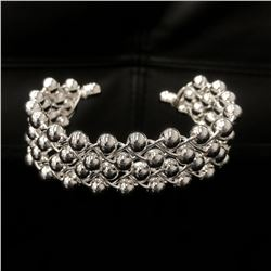 Ladies 925 Sterling Silver Plated Round Bead Bangle.