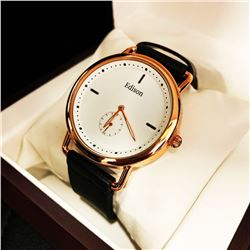 Mens L.A Banus White Dial Formal Stainless Steel Stitched Leather Luxury Band Watch