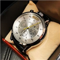 Mens L.A. Banus Silver 6000 Edition Chronograph Genuine Leather Band Watch