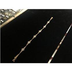 Ladies Italian 14K Gold Custom Flower Link Bracelet