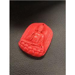 Asian Natural Red Cinnabar Resting Buddha Medallion