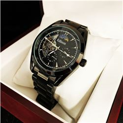 Mens L.A Banus Formal Black Dial Chronograph Genuine Leather Band Watch
