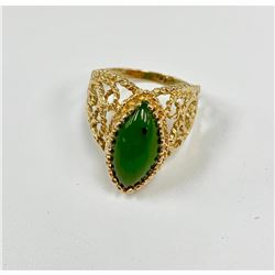 Elegant Ladies 3.73 Carat 14k Gold Jade Ring