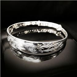 Chinese Dragon & Phoenix Fine Jewelry 925 Silver Bangle