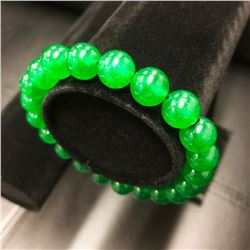 Asian Carved Green Jade Beaded Bracelet