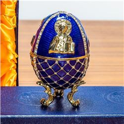 "4"" Jesus the Savior Icon Royal Inspired Russian Egg"