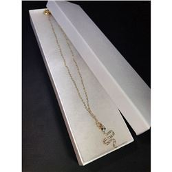 Golden designer necklace w/snake charm.
