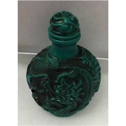 Asian Green Dragon Carved Snuff Bottle
