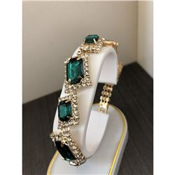 Ladies Gold Square Emerald Rhinestone Bracelet