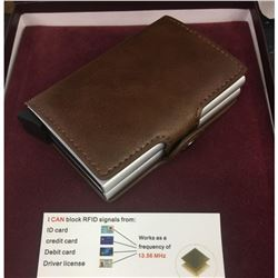 Genuine Stitched Leather Smart Wallet With Spring Load Card Release
