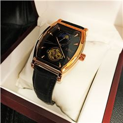 Mens L.A. Banus Classical Edition Gold Dial Chronograph Genuine Leather Band Watch