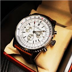 Mens L.A. Banus Formal White Dial Chronograph Genuine Leather Band Watch