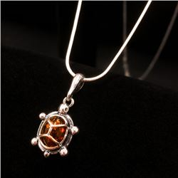 Baltic Amber 925 Silver Plated Tortoise Pendant Necklace On A 925 Silver Plated Snake Link Chain