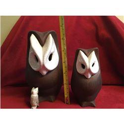 Ceramic Lot Of Owl & Cat Piggie Banks