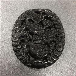 Dark Green Carved Jade Dragon Medallion