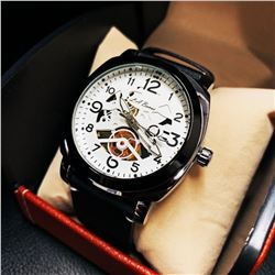 Mens L.A Banus Formal White Skeleton Chronograph Genuine Leather Band Watch