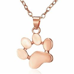 Rose Gold Tone Dog Paw Pendant Accompanied With Chain
