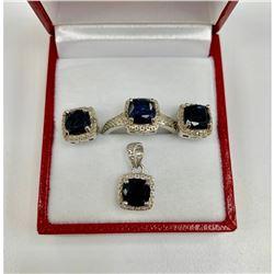 Ladies Opaque Blue Sapphire 2.45kt Jewelry Set
