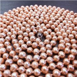 100 Inch AA 7-8mm Pink Akoya Cultured Pearl Necklace
