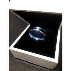 Men's Titanium Steel Silver Black Engagement Ring