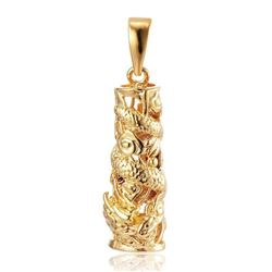 Chinese Dragon Cylindrical Pendant Paired With A Marked 18 Karat Gold Plated Necklace