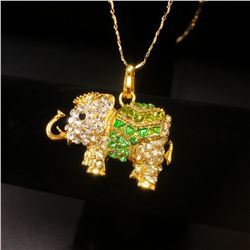 Bejeweled Green And Gold Rhinestone Ganesh Chaturthi Elephant Pendant Paired With Necklace Marked 18