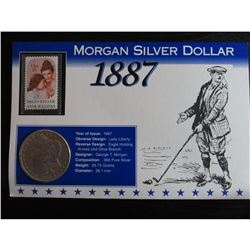 1887 Morgan Silver Dollar & Stamp Historical Facts Card