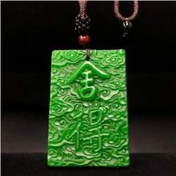 Hand Carved Asian Green Jade Pendant On Necklace