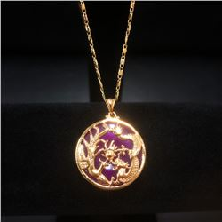 Dragon Phoenix Mount Necklace With Carved Purple Jade On 14Kt Plated Necklace