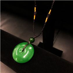 Asian Carved Green Jade Pendant Of Hope