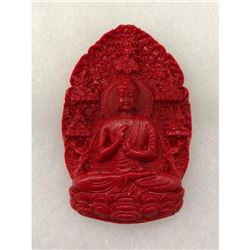 Natural Red Resting Buddha Carved Cinnabar Medallion