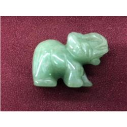 Carved Asian Green Jade Elephant Figure