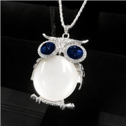 Enchanted Blue & White Owl Pendant On 925 Silver Chain