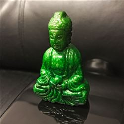 Chinese Green Jade Carved Resting Buddha Figure