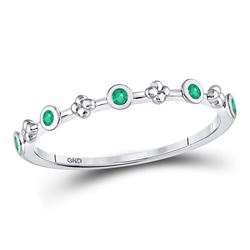 Round Emerald Dot Flower Stackable Band Ring 1/12 Cttw 10kt White Gold