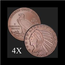 1 oz Incuse Indian .999 Fine Copper Bullion Round