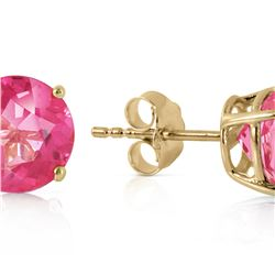 Genuine 3.1 ctw Pink Topaz Earrings 14KT Yellow Gold - REF-25W3Y
