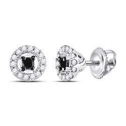Round Black Color Enhanced Diamond Stud Screwback Earrings 1/5 Cttw 10kt White Gold