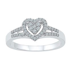 Diamond Heart Ring 1/5 Cttw 10kt White Gold