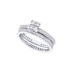 Diamond Eternity Bridal Wedding Engagement Ring Band Set 1 Cttw 14kt White Gold