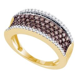 Round Brown Diamond Band Ring 3/4 Cttw 10kt Yellow Gold