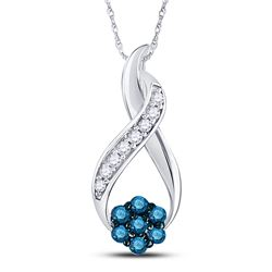 Round Blue Color Enhanced Diamond Cluster Twist Pendant 1/6 Cttw 10kt White Gold