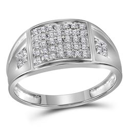 Mens Round Prong-set Diamond Square Cluster Ring 1/4 Cttw 10kt White Gold